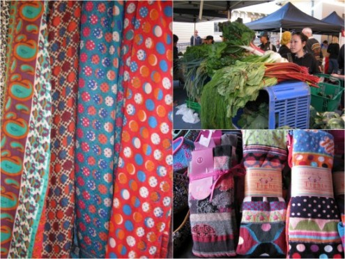 Scarves and French cotton tights by Blitz, and organic veges at Ramsgate Organic Foodies Market