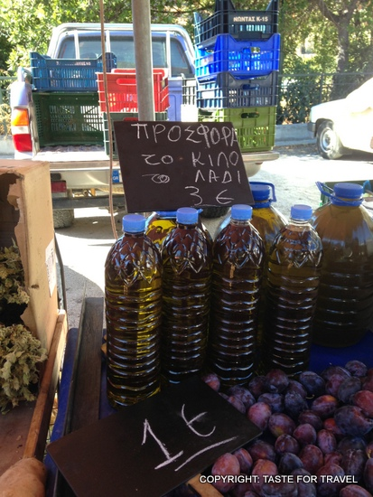 Olive oil, Xylokastron market, Greece