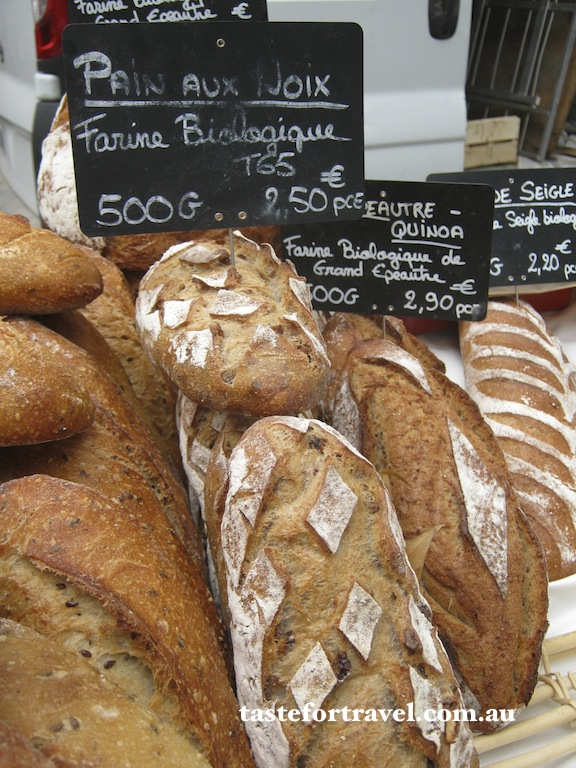 Multigrain French breads at a Provence produce market