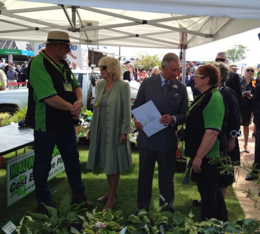 Duchess and Duke of Cornwall greet locals at the Feilding Farmers Market