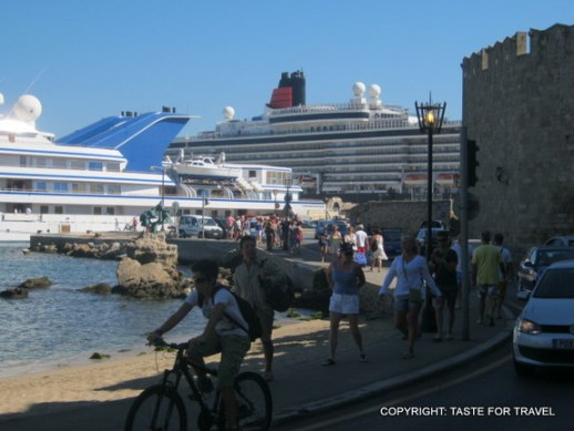 The cruise ships are in port and the island of Rhodes is bustling