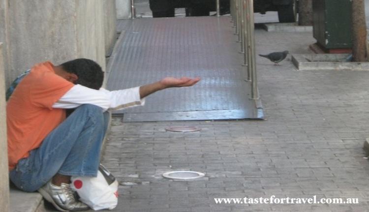 Beggar in central Athens