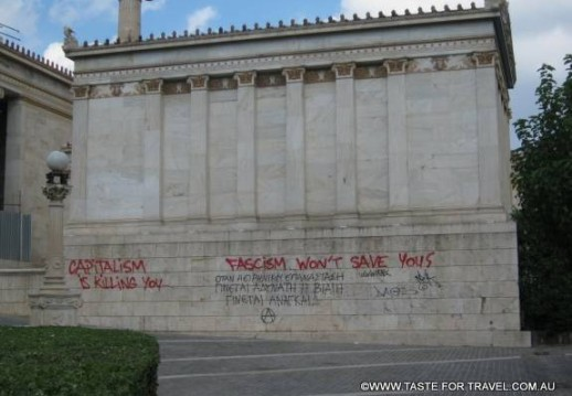 Graffiti in downtown Athens shouts people's anger over asuterity measures
