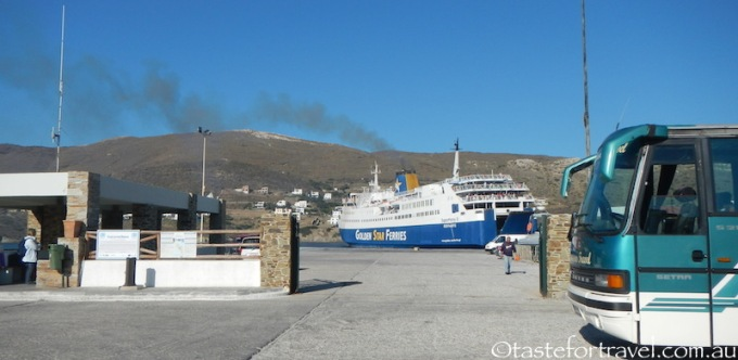 Ferry leaving Andros Port of Gavrion