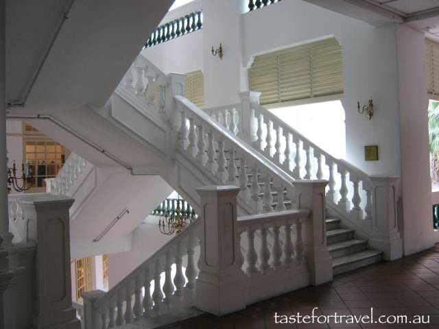 The interior staircase of Raffles Hotel, Singapore