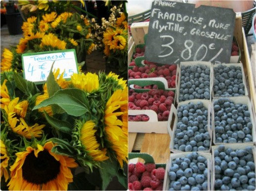 Sunflowers, raspberries and blueberries Aix-en-Provence market