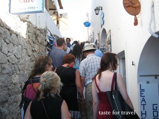 Crowded narrow street of Oia