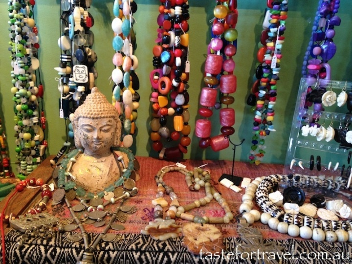 Necklace displays at Mala Beads, Austinmer