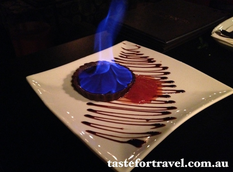 Flaming chocolate tart