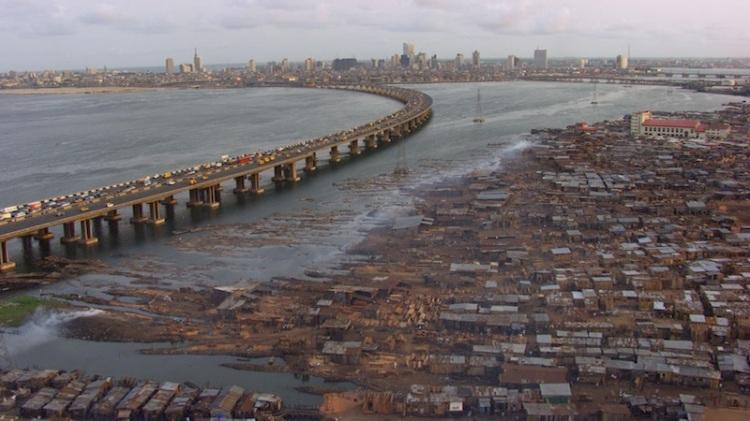 Makoko Slum opposite the city of Lagos, Nigeria