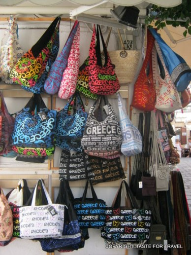 Tourist bags, Lindos, Rhodes, Greece