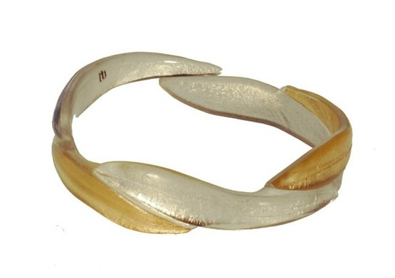Resin Bracelet: Gold and Silver Gum Leaf