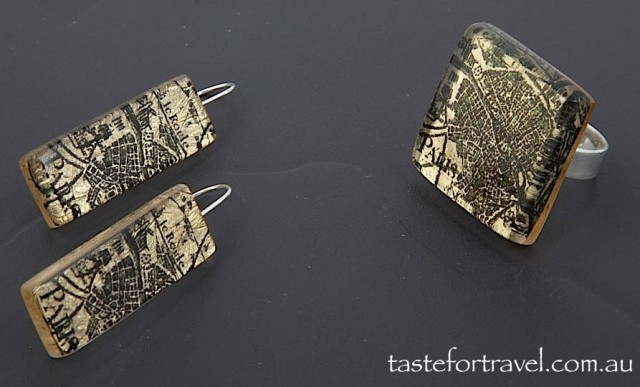 Paris map resin earrings and ring