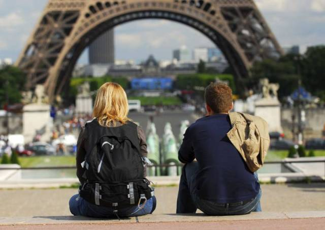 Young tourist couple sitting in front of Eiffel tower in Paris France
