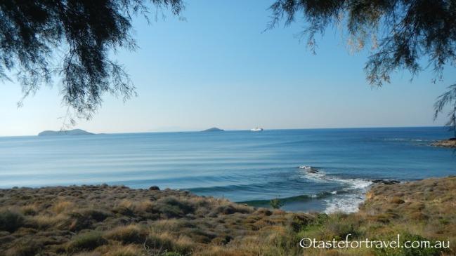The ferry slips towards Tinos