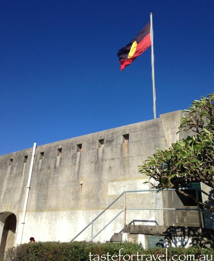 Aboriginal flag flies over Bare Island