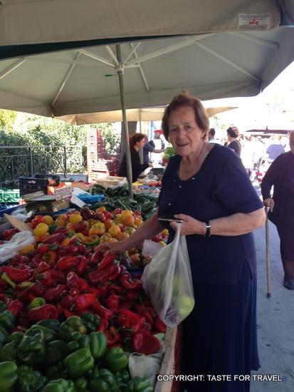 Chrisanthe, Xylokastron market, Greece