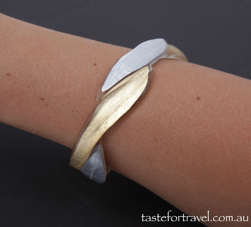 Resin Bracelet: Gold and SIlver Leaf