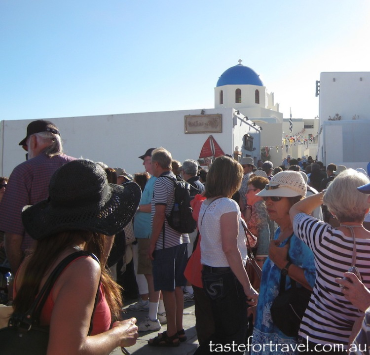 Crowds in Oia looking for the best vantage point to watch the sunset