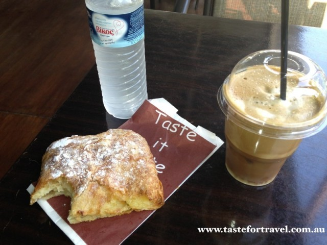 Breakfast bougatsa and cafe freddo