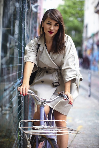 Rachel Khoo on a bike