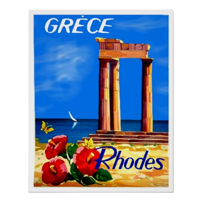 Rhodes Greece vintage travel posters