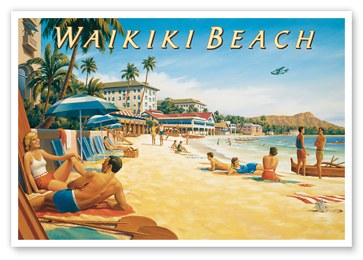 Hawaii vintage travel posters