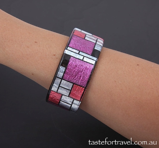 Resin Jewellery Mondrian Cuff, Silver Leaf, Red, Black Violet on model