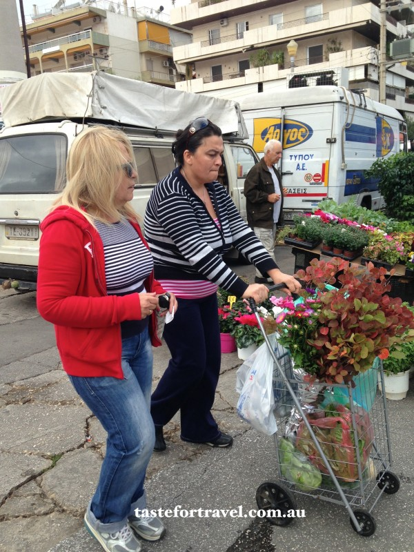 Shoppers at Glyfada market