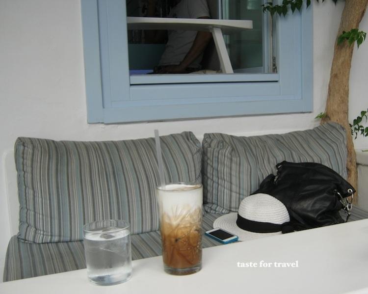 Cafe freddo cappuccino, back street cafe, Mykonos