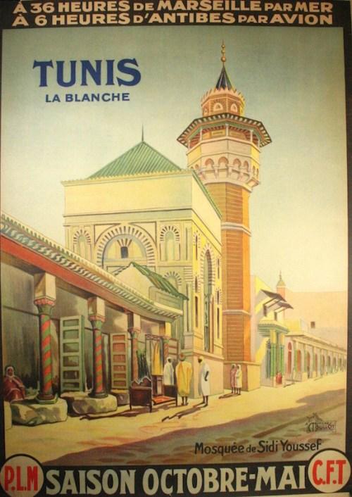 Tunisia vintage travel poster