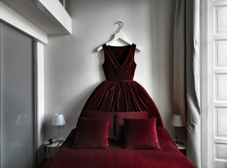 The Maison Moschino, Milan, where beds are dressed as ballgowns