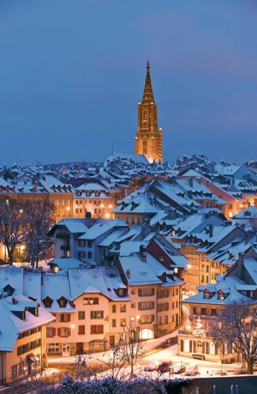 Old City of Bern at night in winter