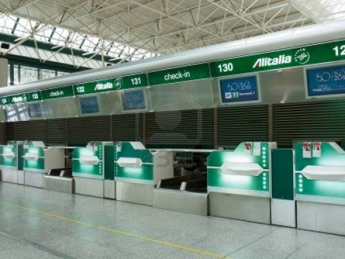 An Alitalia counter in Rome's airport. Picture: Anna Todero