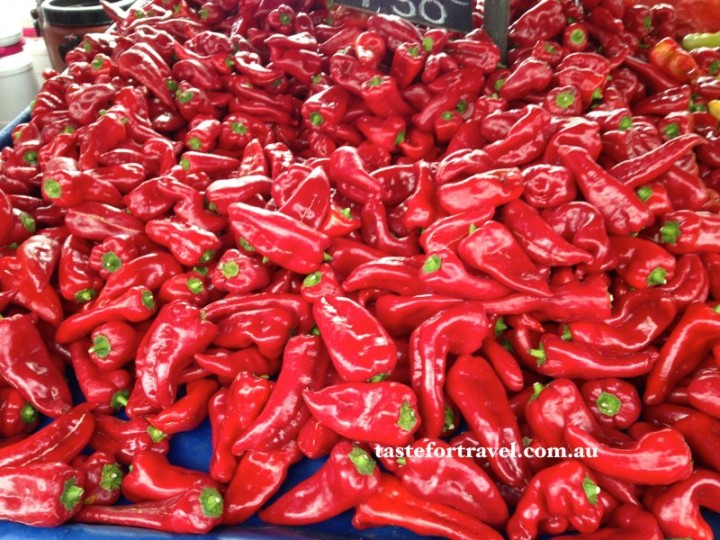 Banana chilli peppers at Glyfada market