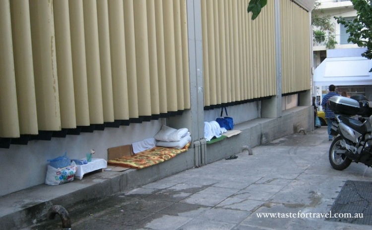 Beds of the homeless in Athens
