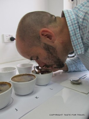 Barista Scott Callaghan shows how to do a blind coffee tasting
