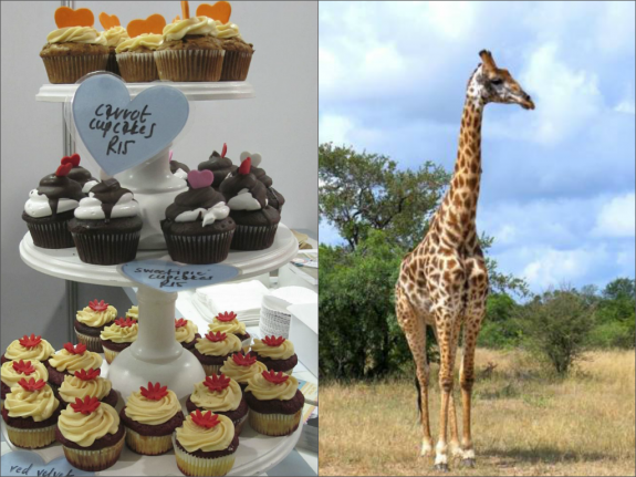 Cupcake stand almost as tall as a giraffe