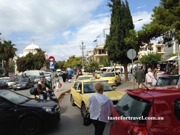 Traffic chaos at Glyfada market