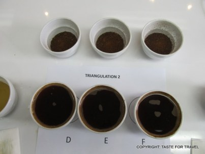 Coffees lined up at a sampling class