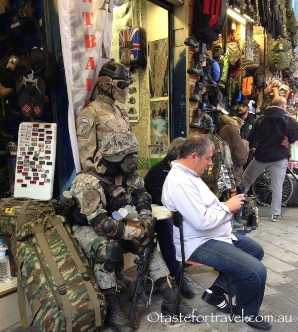 Army surplus gear, Athens flea market