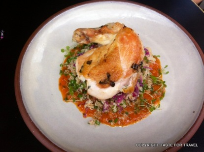Free-range chook with couscous, fennel, shredded cabbage, preserved lemon etc