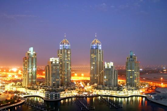 Dubai marina, lit up like a Christmas tree