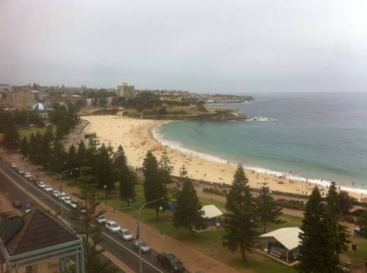 Coogee Beach on a grey Sunday summer's morning still has a lot of early swimmers