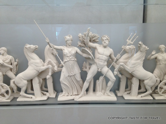 Miniature reconstruction of the Parthenon frieze showing the battle between goddess Athena and Poseidon for control of the Greek capital. I'm glad Athena won!