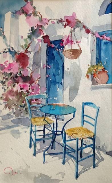 Watercolor of Greece