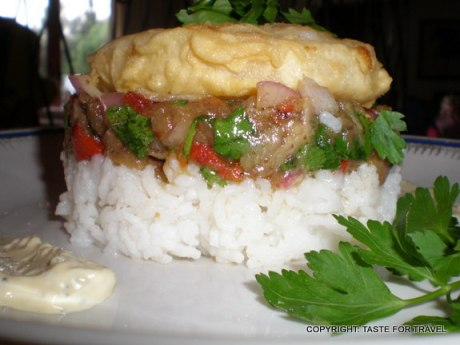 Greek cod fish recipe with eggplant salad