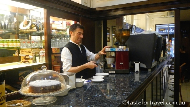 Making coffee in Pastisseria Ideal