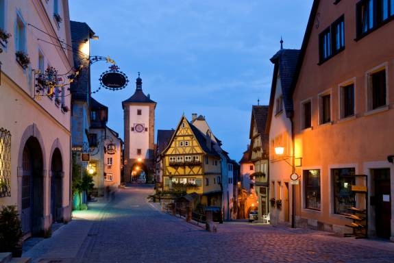 Rothenburg, Bavaria, Germany; Plonlein at twilight; picturesque romantic medieval town