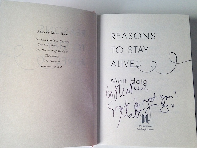 Signed copy of Reasons to Stay Alive 2